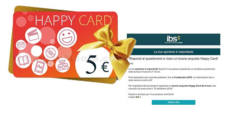 questionario buono acquisto Happy Card IBS 5€ agosto 2018