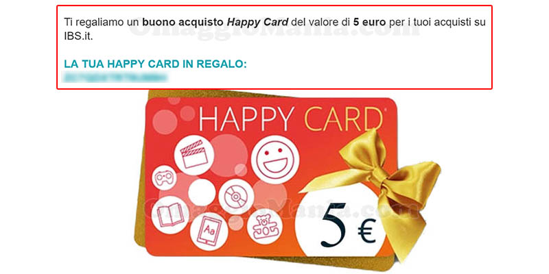 Happy Card IBS da 5€ in arrivo