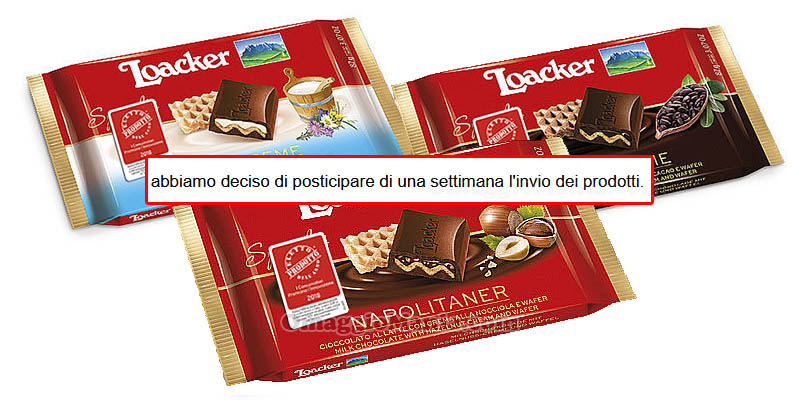posticipo invio prodotti Loacker The Insiders