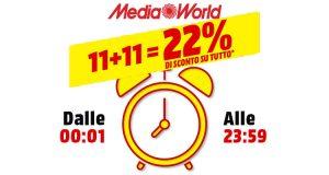 MediaWorld sconto 22% su tutto 11 novembre 2018