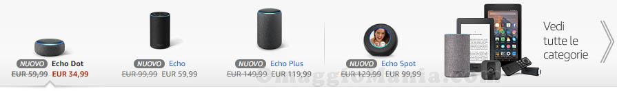 famiglia Amazon Echo con Alexa