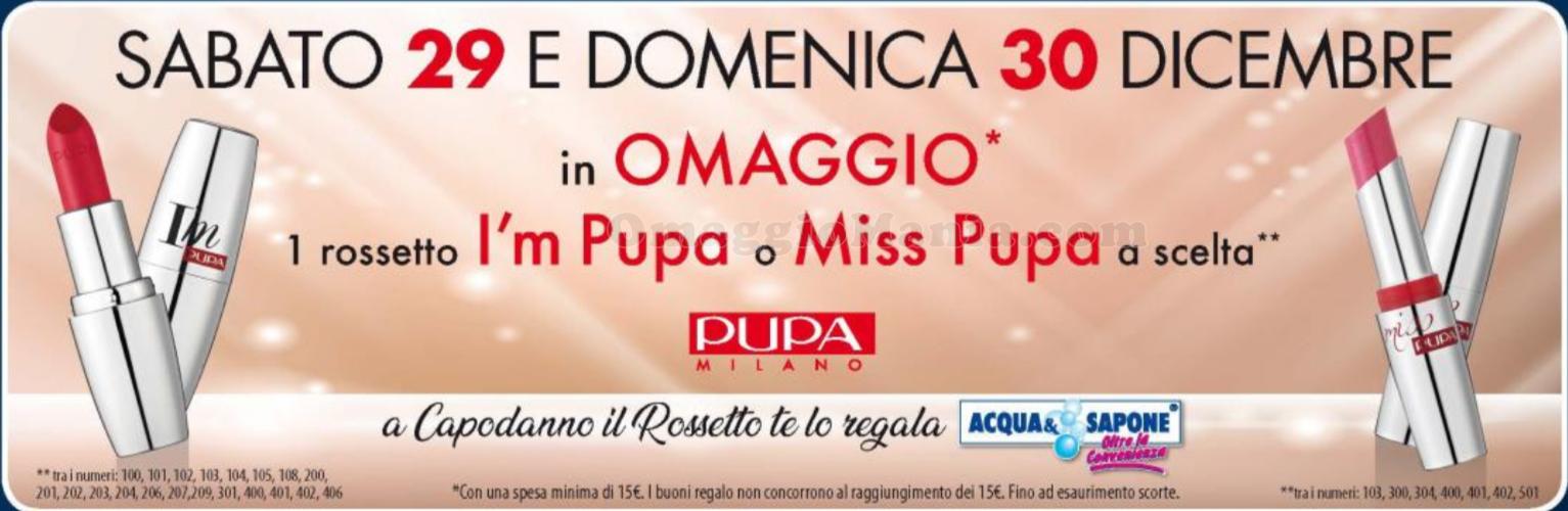 rossetto Pupa omaggio Acqua & Sapone