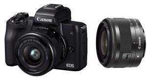 fotocamera mirrorless Canon EOD M50 e obiettivo EF-M 15-45MM IS STM