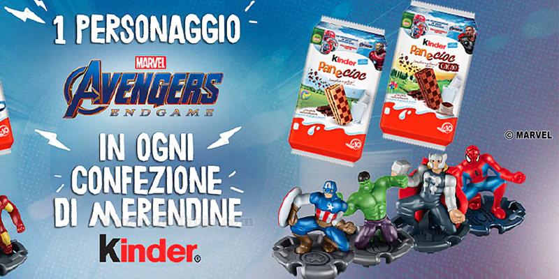 personaggi Marvel Avengers Endgame omaggio con Kinder