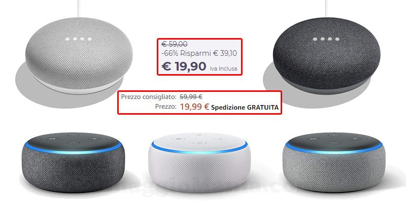 Amazon Echo Dot e Google Home a meno di 20 euro
