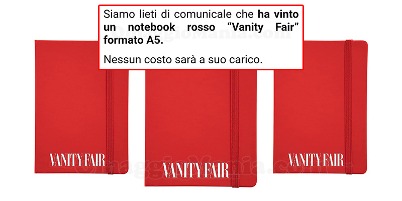 5000 quaderni Vanity Fair omaggio conferme