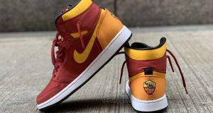 scarpe sneaker Nike Air Jordan Mid 1 personalizzato AS Roma