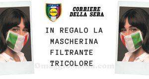 mascherina filtrante tricolore omaggio Corriere della Sera e Lidl