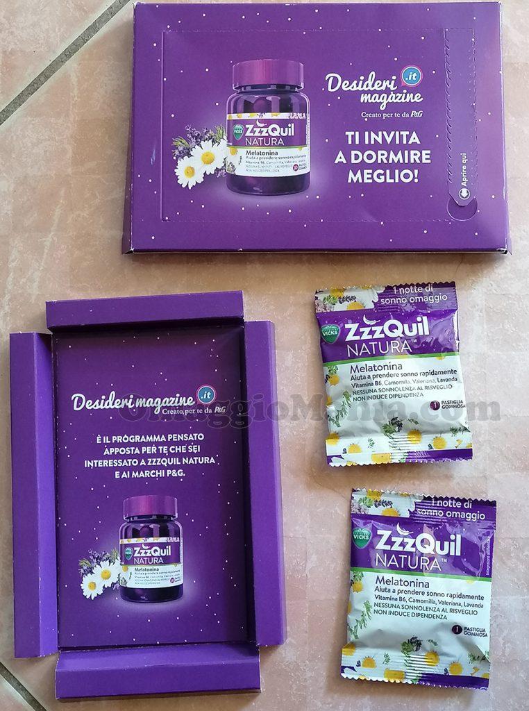 campioni omaggio ZZZquil di Sole con Desideri Magazine