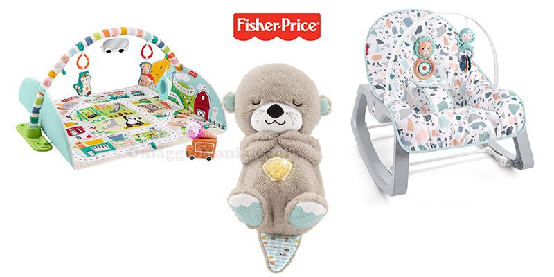 Diventa tester dei giocattoli Fisher-Price Palestrina Gigante, Dondolino Pacific Joy, Lontra soffice relax