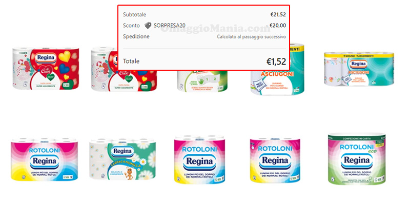 prodotti Regina sconto Sorpresa20