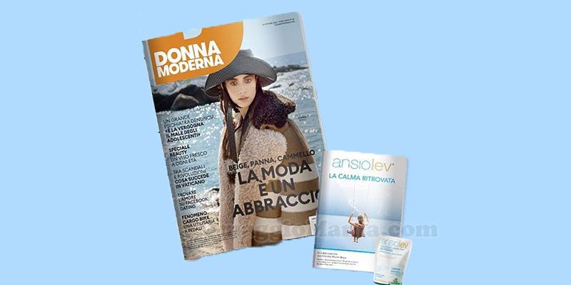 rivista Donna Moderna con campione omaggio Ansiolev Specchiasol