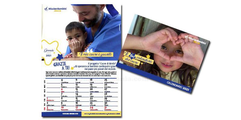 calendario del cuore 2021 Mission Bambini