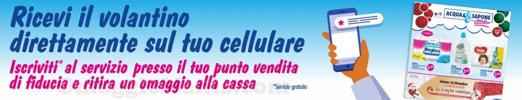 omaggio cassa volantino Acqua & Sapone sul cellulare