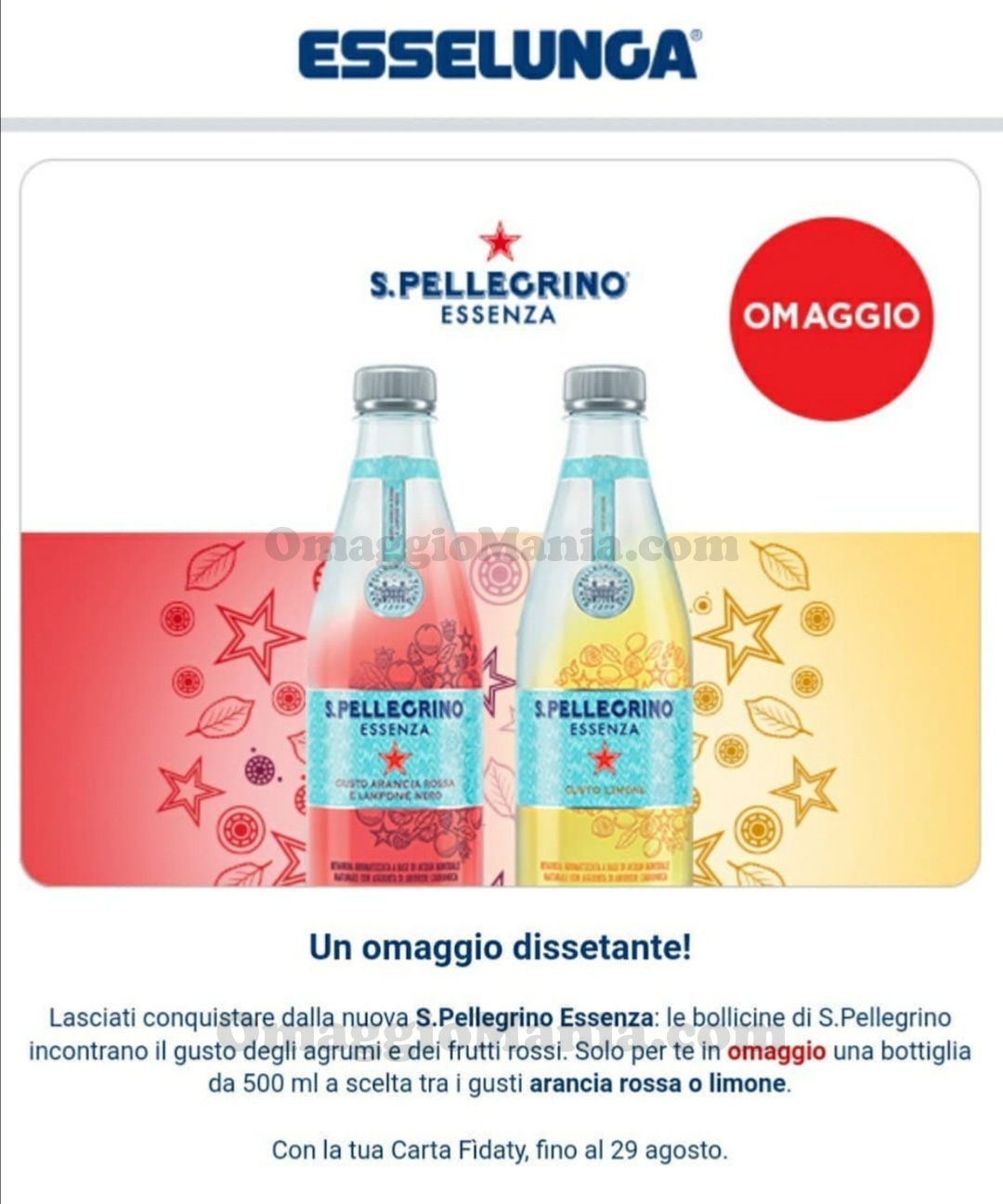 S.Pellegrino Essenza omaggio con Esselunga