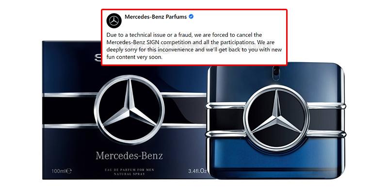 annullamento concorso Mercedes-Benz Parfums
