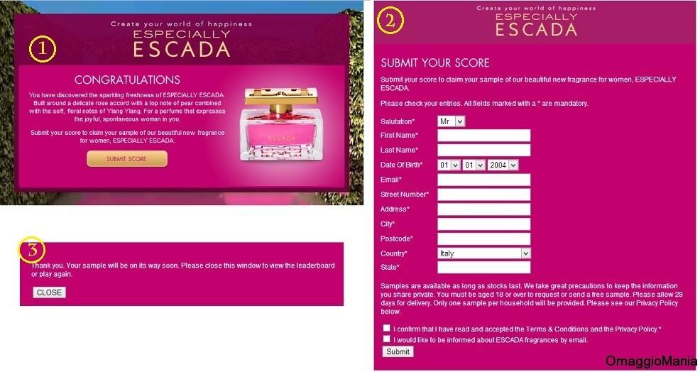 Especially Escada - richiesta campione omaggio
