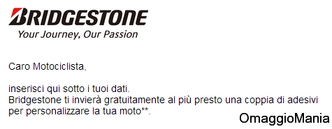 adesivi omaggio Bridgestone