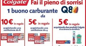 Buoni carburante da 5 o 10 euro con Colgate e Q8