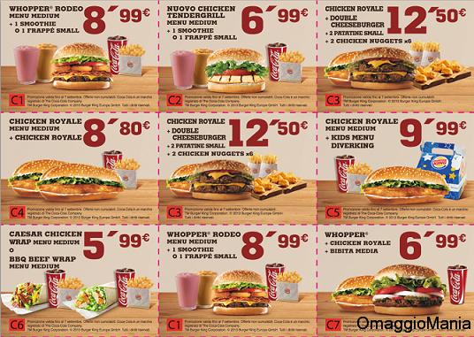buoni sconto Burger King settembre 2013