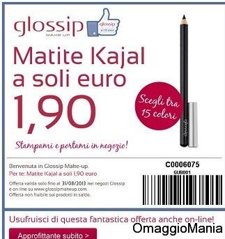 buoni sconto glossip make up ricevuto