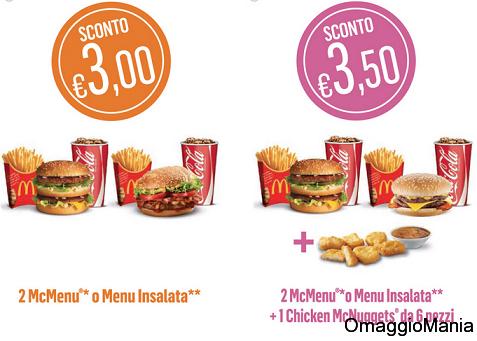 buoni sconto stampabili McDonald's dal 30 settembre al 6 ottobre