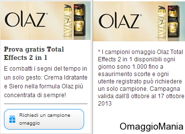 campione omaggio Olaz Total Effects 2 in 1