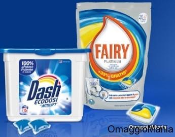 campioni omaggio ecodosi Dash e monodose Fairy