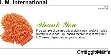 guanto in microfibra omaggio conferma